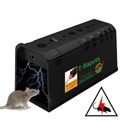 T-Raputa Trappola per Topi elettrica,Trappola per Topi,utilizzati per catturare al Coperto e all'aperto ratti, ratti, parassiti, roditori (Nero)